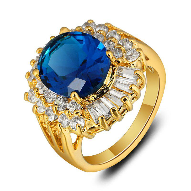 Zircon Faux Sapphire Oval Ring - GOLDEN