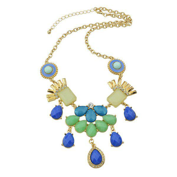 Alloy Rhinestone Water Drop Necklace - BLUE