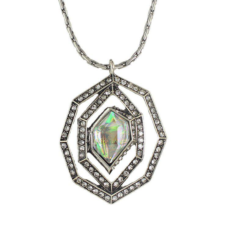 Chic Rhinestoned Geometric Necklace For Women - SILVER