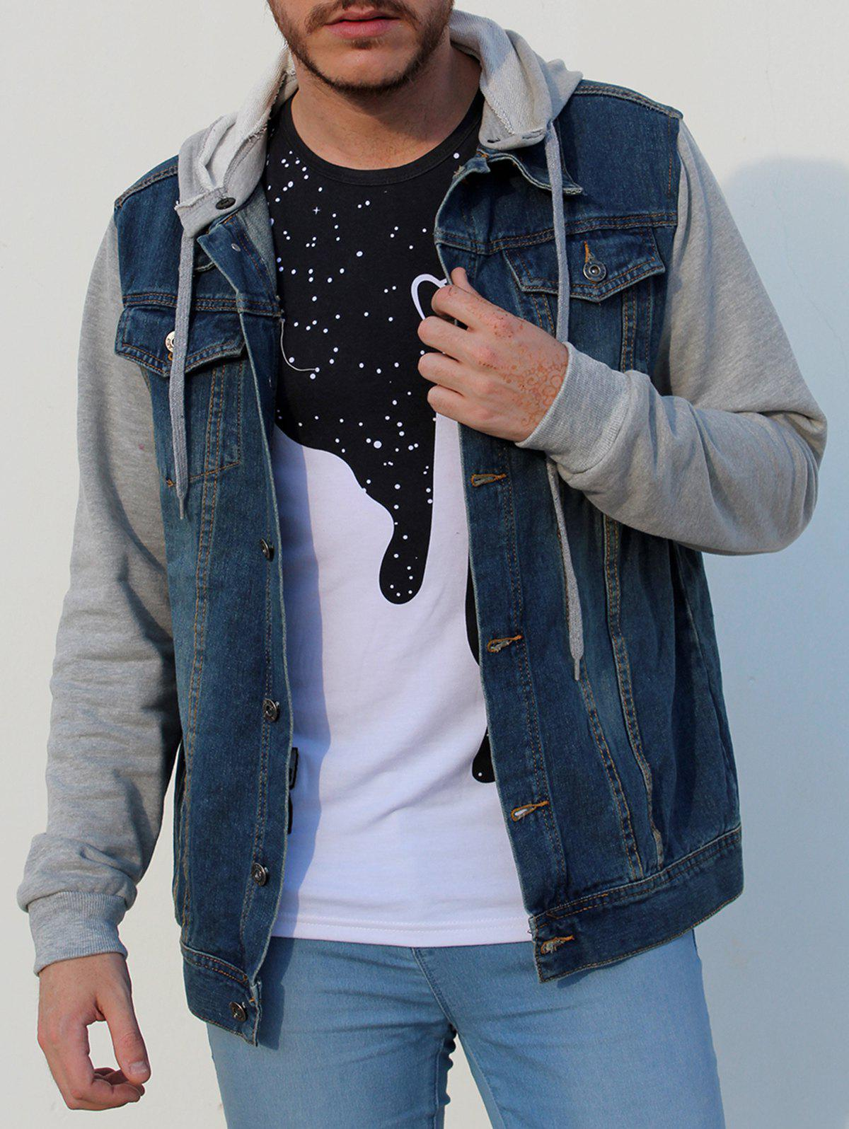 Casual Detachable Hooded Single Breasted Splicing Denim Jacket For Men - LIGHT BLUE M