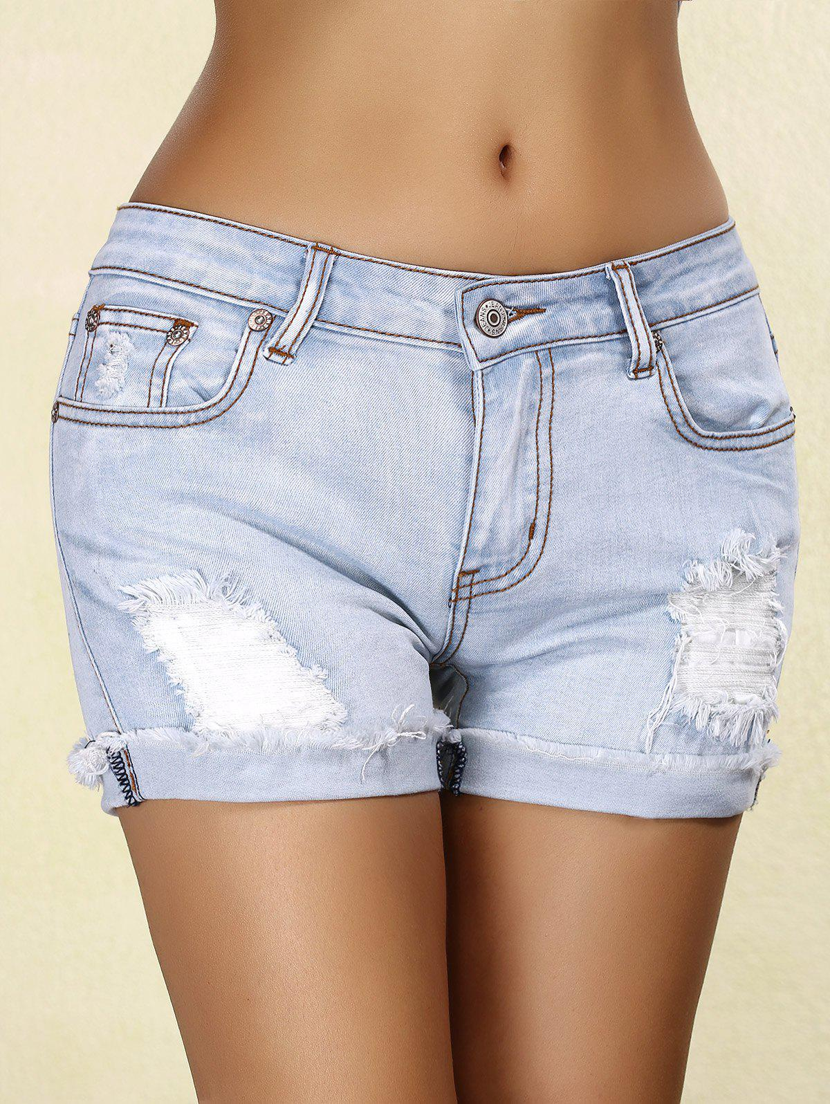 Stylish Rippped Denim Cuffed Women's Shorts - BLUE GRAY S