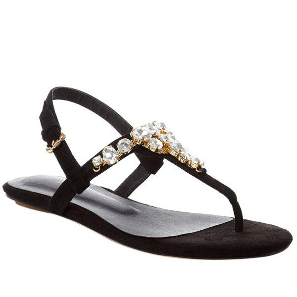 Trendy Flip Flop and Rhinestone Design Women's Sandals - BLACK 39
