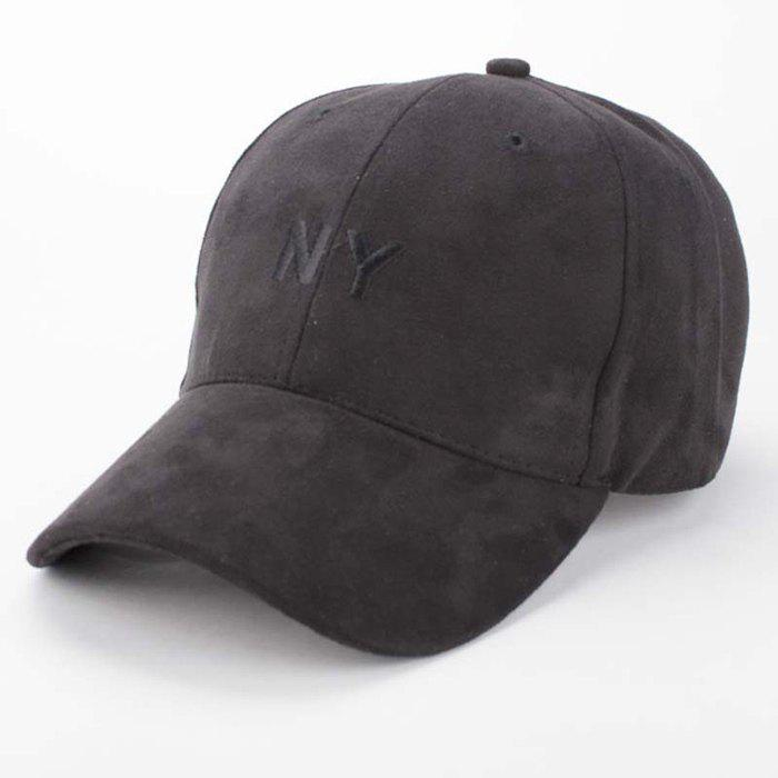 Stylish Letter Embroidery Popular Hip-Hop Men's Suede Baseball Cap - BLACK