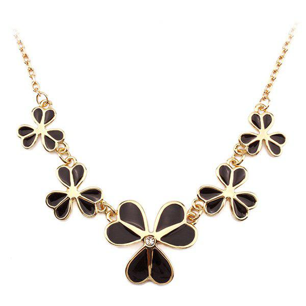 Clover Shape Gold Plated Resin Alloy Necklace - BLACK