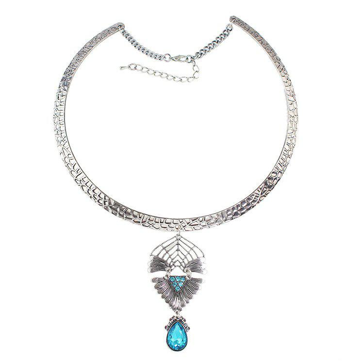 Water Drop Faux Crystal Embellished Necklace - LIGHT BLUE