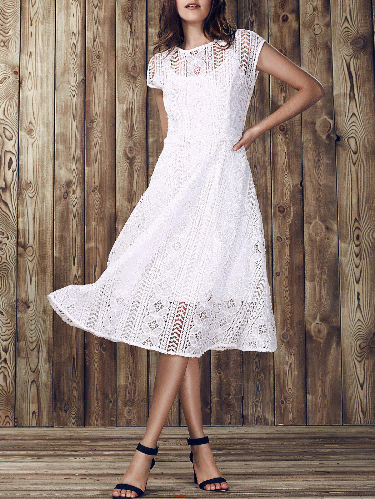 Elegant Women's Round Collar Hollow Out Short Sleeve Lace Dress - WHITE L