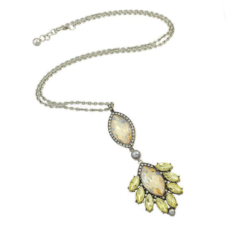 Chic Faux Crystal Rhinestone Oval Sweater Chain For Women