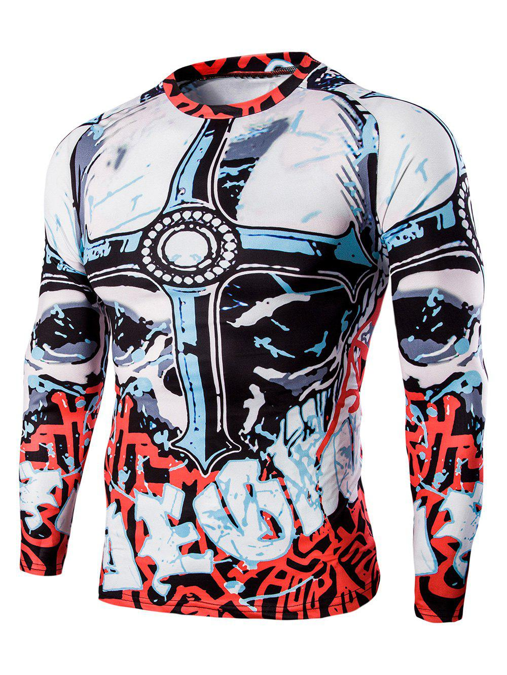 Men's Round Neck Abstract Print Long Sleeves Sweat Dry T-Shirt - COLORMIX L