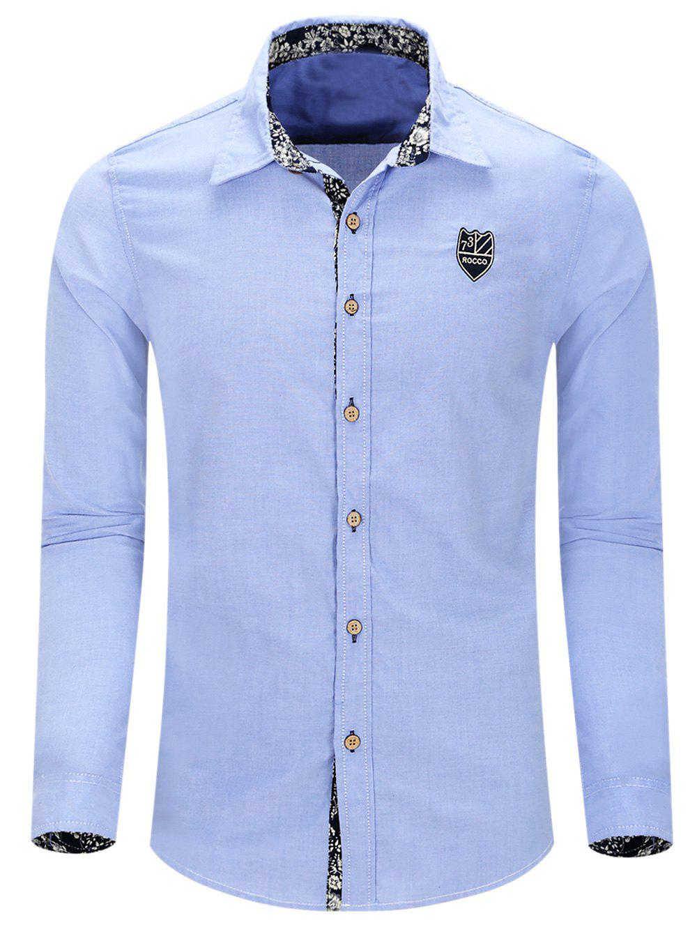 Casual Turn Down Collar Single Breasted Men's Shirts - LIGHT BLUE 2XL