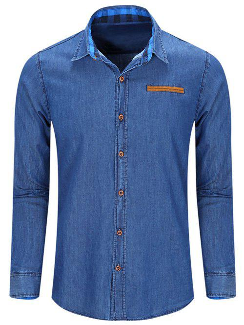 Fashion Turn Down Collar Men's Denim Shirts - DEEP BLUE L