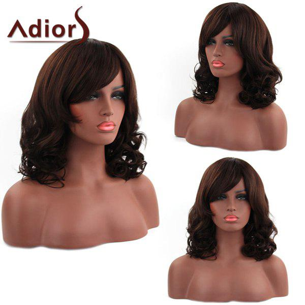 Shaggy Wave Side Bang Capless Vogue Medium Dark Brown Synthetic Adiors Wig For Women