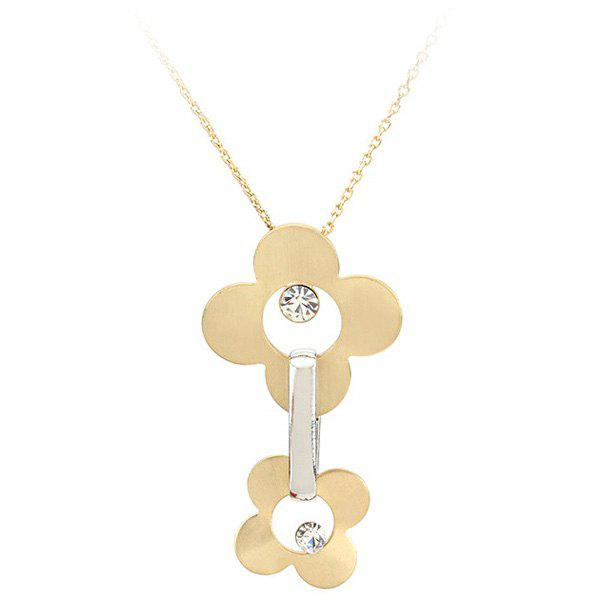 Sweet Gold Plate Flower Hollow Out Rhinestone Pendant Necklace For Women - PLATINUM