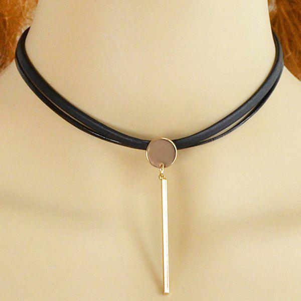 Punk Style Faux Leather Bar Necklace For Women