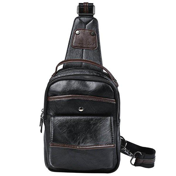 Casual PU Leather and Black Design Men's Messenger Bag - BLACK