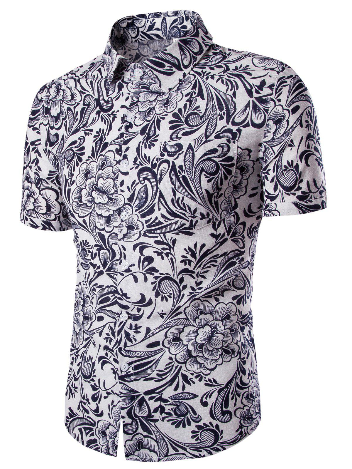 Casual Flower Printing Short Sleeves Men's Shirts - WHITE L