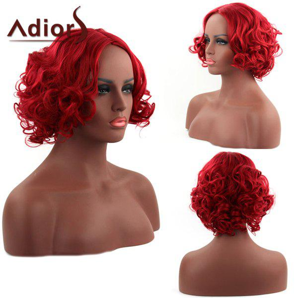 Fluffy Curly Centre Parting Fascinating Short Red Synthetic Women's Capless Adiors Wig - RED