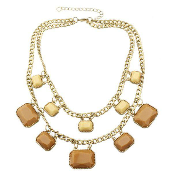 Geometric Layered Pendant Necklace - GOLDEN