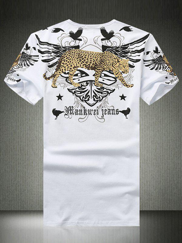 Wing Leopard Print Rhinestone Round Neck Short Sleeve Men's T-Shirt - WHITE 5XL