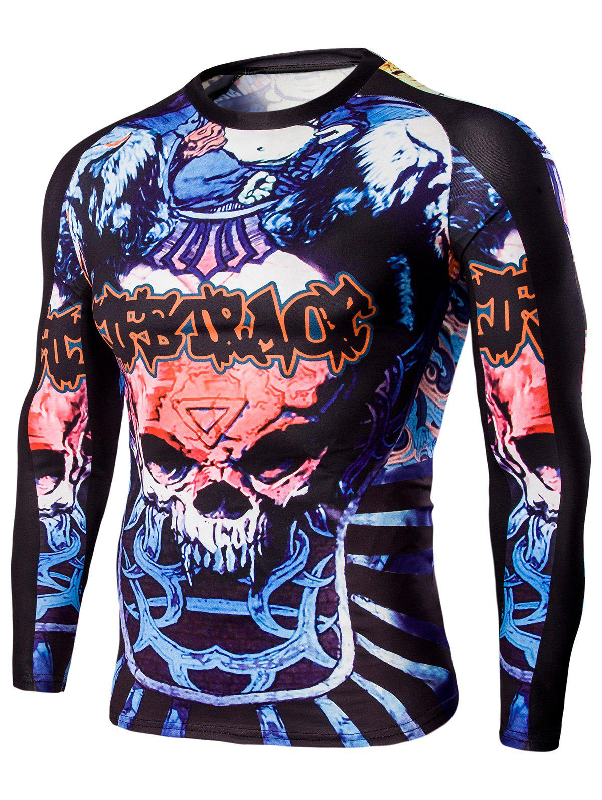 Men's Round Neck Skull and Words Print Long Sleeves T-Shirt - COLORMIX L