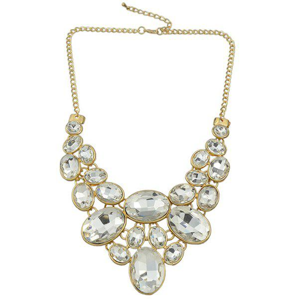 Gorgeous Faux Crystal Embellished Oval Necklace For Women - WHITE