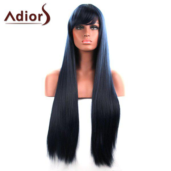 Charming Extra Long Synthetic Silky Straight Women's Capless Adiors Wig - BLACKISH GREEN