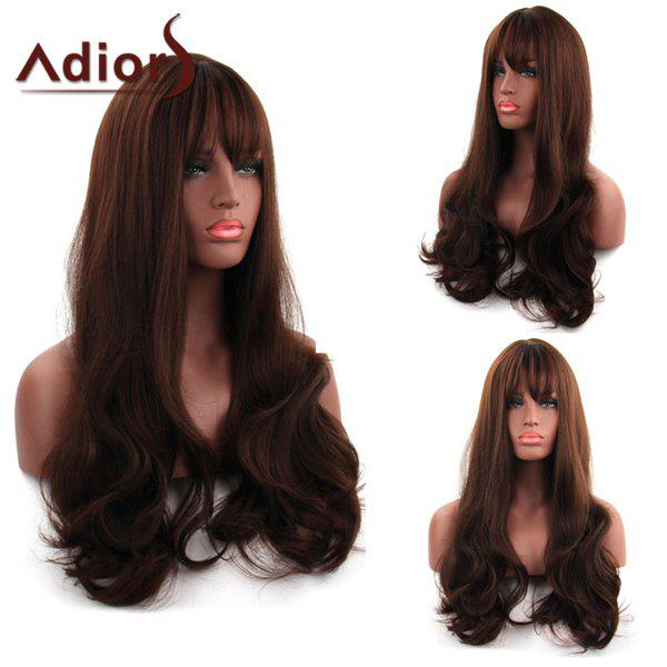Fluffy Dark Brown Wave Capless Fashionable Long Full Bang Synthetic Adiors Wig For Women - DEEP BROWN
