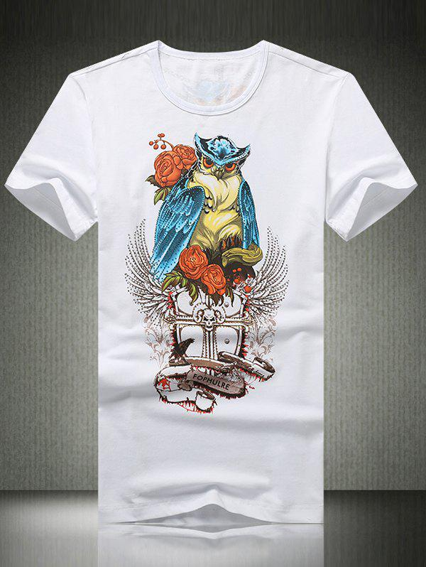 3D Owl Print Rhinestone Round Neck Short Sleeve Men's T-Shirt - WHITE 3XL