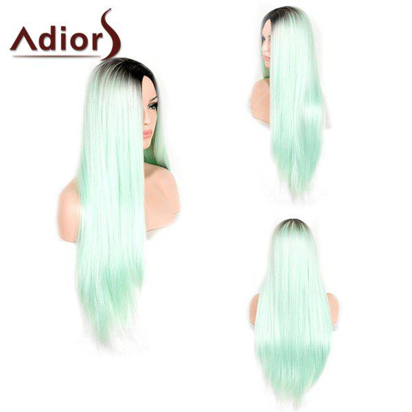 Trendy Black Ombre Green Middle Part Synthetic Silky Straight Womens Capless Adiors WigHair<br><br><br>Color: BLACK AND GREEN