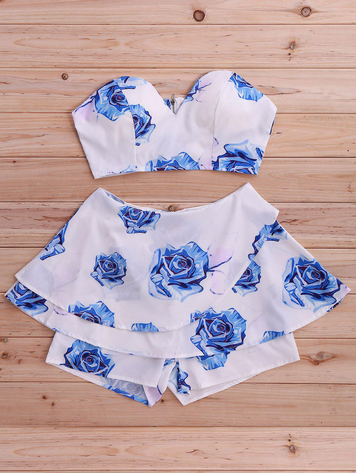 Stylish Women's Floral Print Tube Top and Skirted Shorts Set - BLUE S