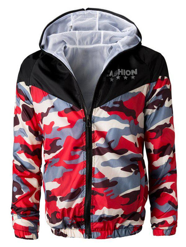 Letters Print Camouflage Splicing Hooded Long Sleeve Polyester Men's Jacket 182737911