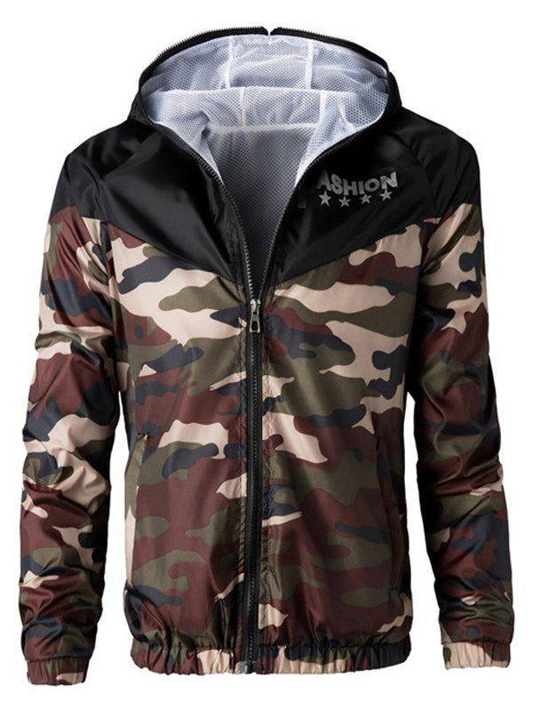Letters Print Camouflage Splicing Hooded Long Sleeve Polyester Men's Jacket 182737922