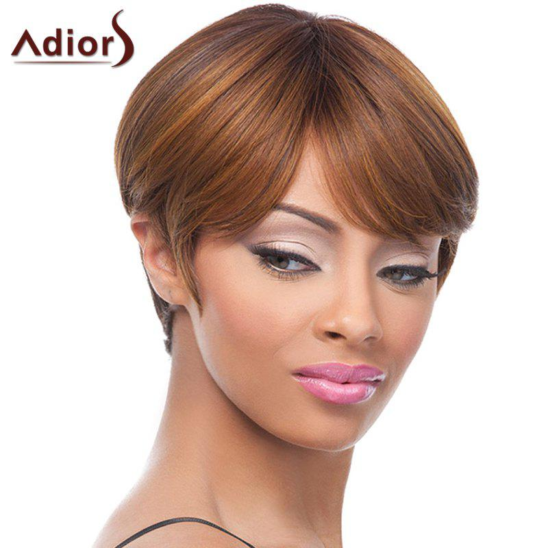 Spiffy Brown Mixed Synthetic Adiors Short Hairstyle Straight Capless Wig For Women - COLORMIX