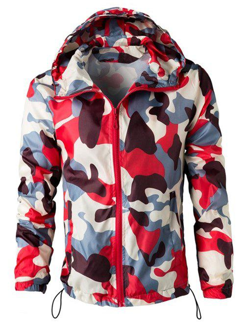 Camouflage Hooded Long Sleeve Polyester Men's Jacket - RED 2XL