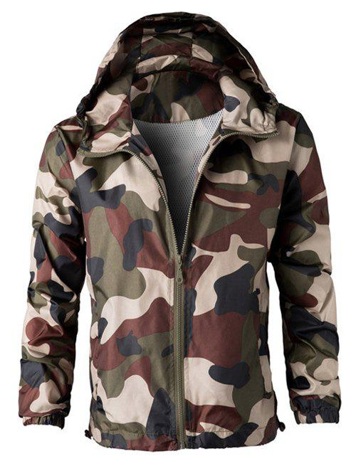 Camouflage Hooded Long Sleeve Polyester Men's Jacket - ARMY GREEN M