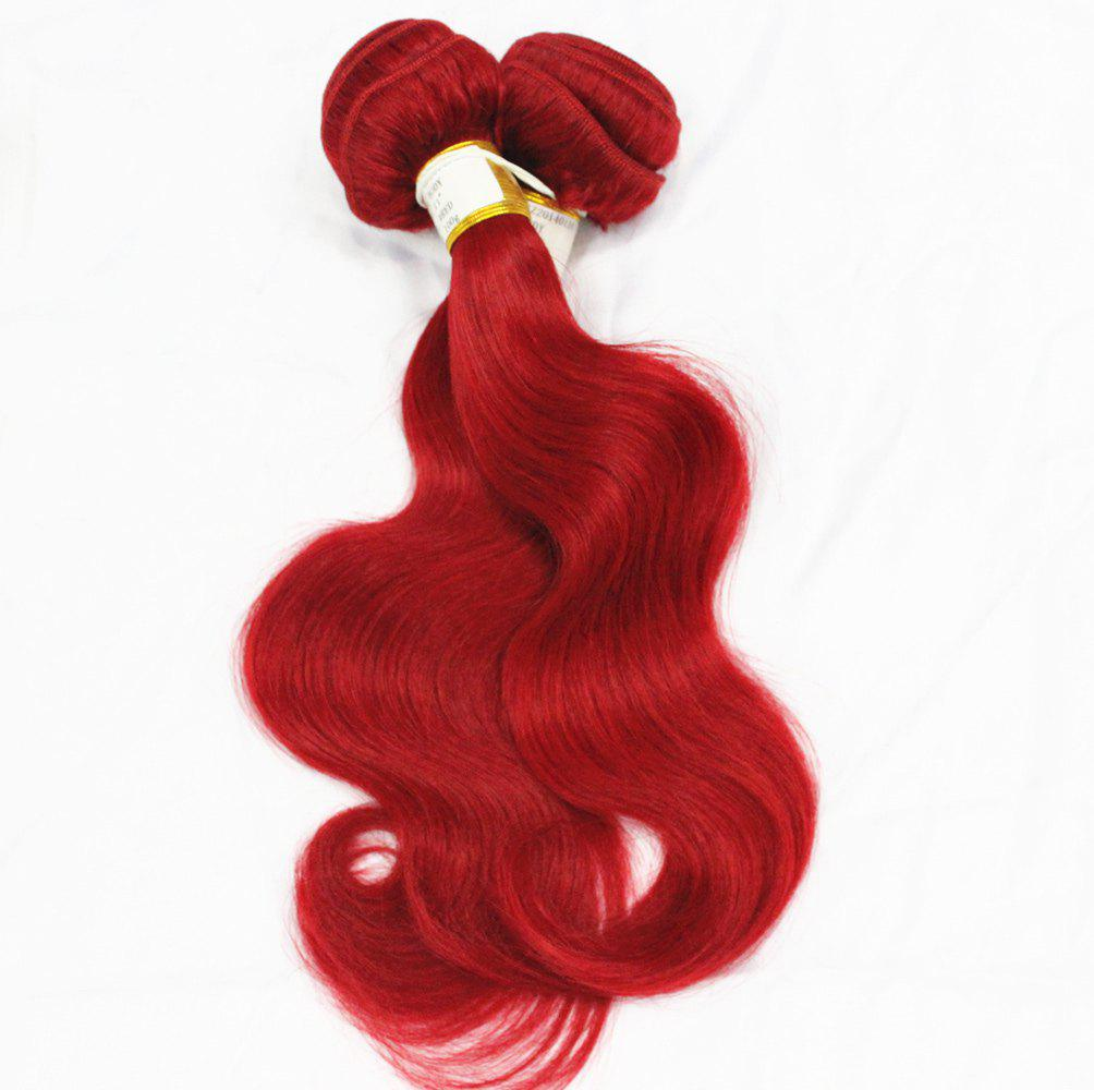 1 Pcs 6A Virgin Pure Body Rouge Vague Indian Human Hair Weave pour les femmes - Rouge 18INCH
