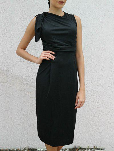 OL Style V-Neck Solid Color Women's Bodycon Midi Dress - BLACK M