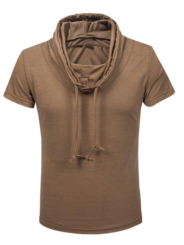 Heaps Boutons de col ornementé T-shirt de Shorts Sleeve Men - Camel L
