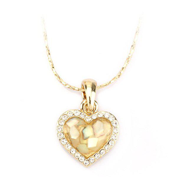 Graceful Rhinestone Heart Shape Conch Resin Pendant Necklace For Women - GOLDEN