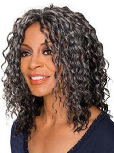 Fluffy Curly Medium Capless Fashion Black Mixed Silvery Gray Capless Wig For Women