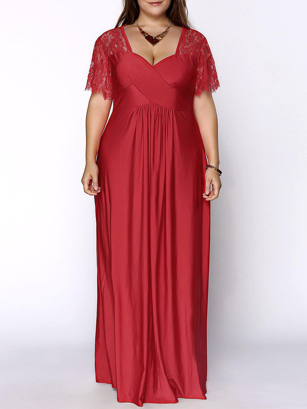 Stylish Women's Plus Size Sweetheart Neckline Lace Panelled Dress - RED XL