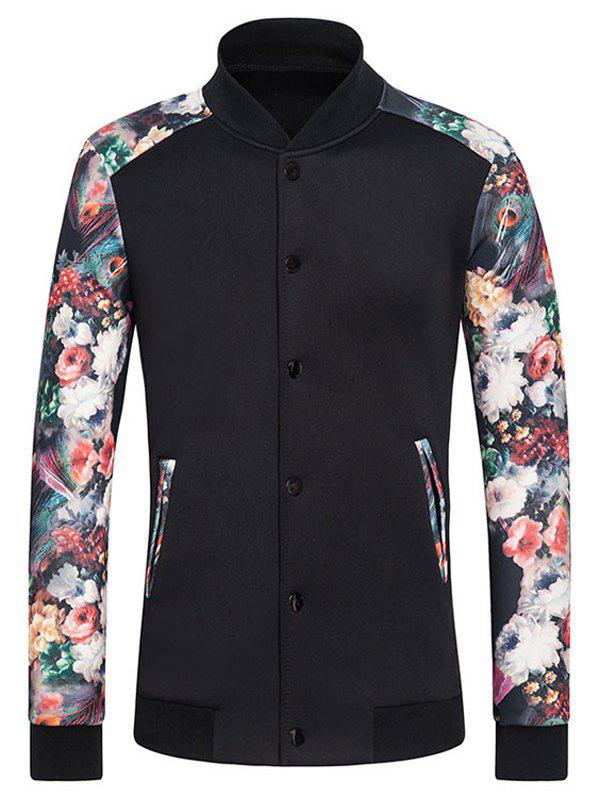 Rib Spliced Flower Print Stand Collar Long Sleeve Button-Up Sweatshirt