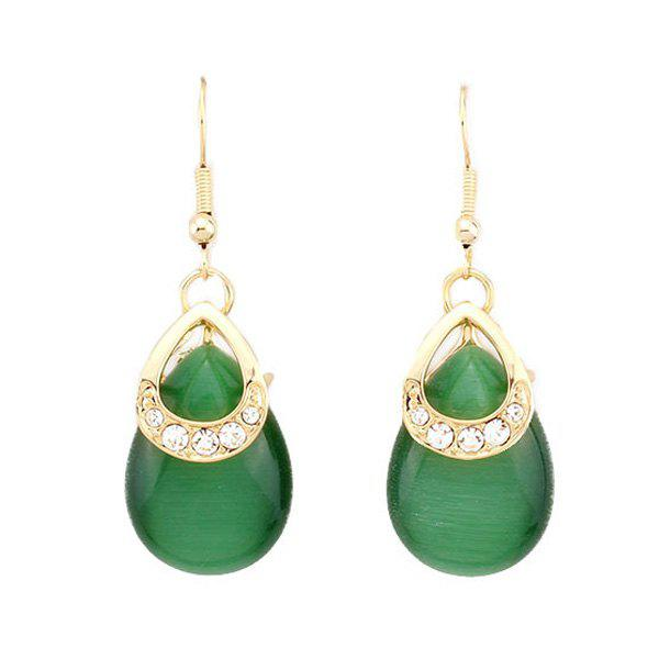 Retro Water-Drop Shape Cut Out Faux Emerald Earrings For Women - EMERALD