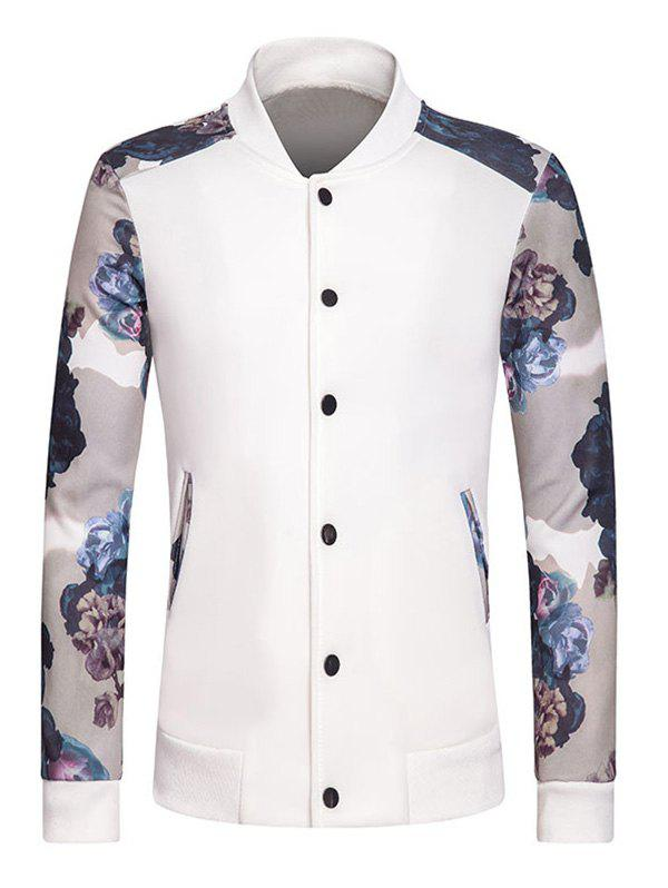 Rib Spliced Floral Print Stand Collar Long Sleeve Button-Up Sweatshirt - WHITE S