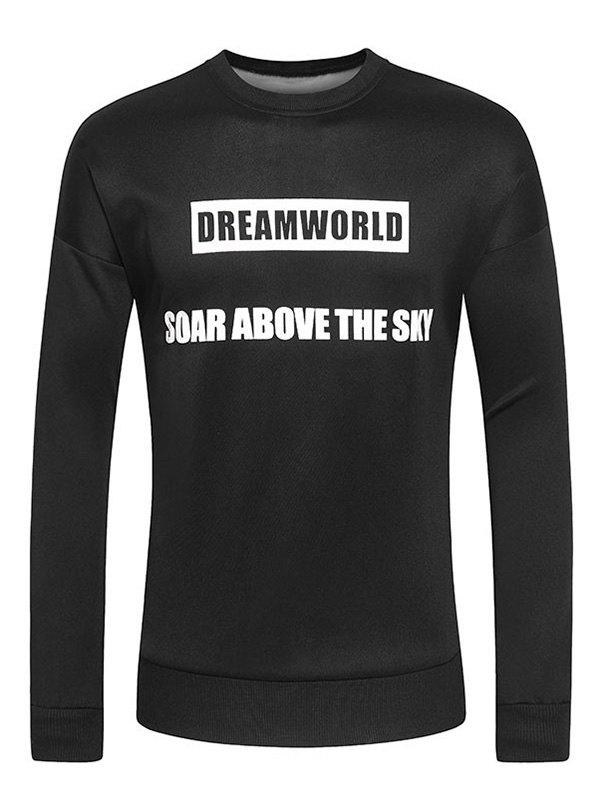 Letters and Wings Print Round Neck Long Sleeve Men's Sweatshirt - BLACK 2XL