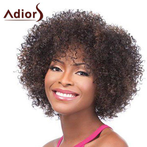 Shaggy Afro Curly Synthetic Adiors Stylish Short Haircut Brown Mixed Synthetic Wig For Women - COLORMIX