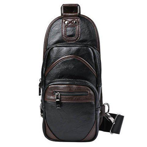 Loisirs Color Block et Zip design Men 's  Messenger Bag - Noir