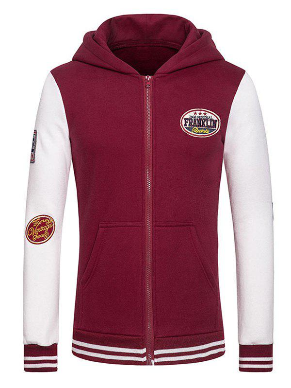 Letters Embroidered Applique Hooded Long Sleeve Zipper Hoodie - WINE RED S