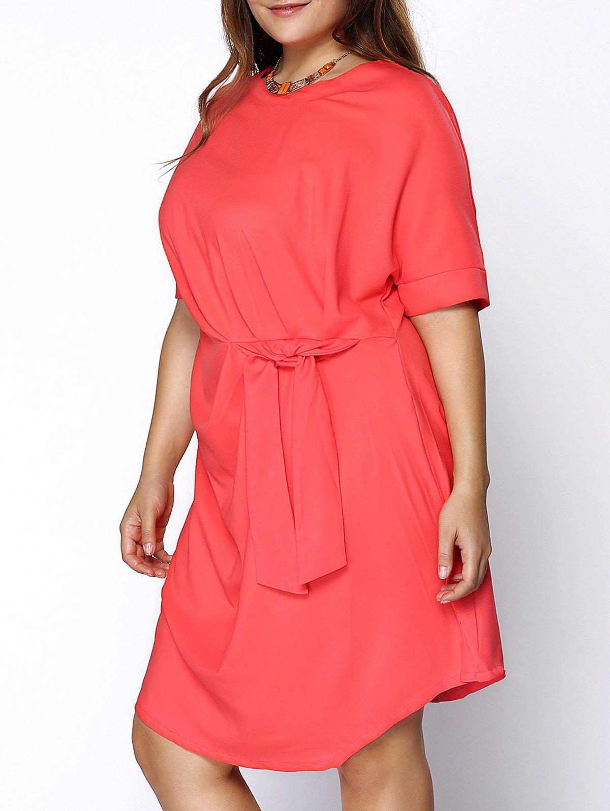 Chic Round Collar Knotted Solid Color Plus Size Women's Dress - RED 4XL
