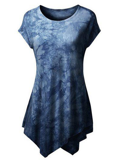 Jewel Neck Short Sleeve Tie Dyed T-Shirt For Women - DEEP BLUE S