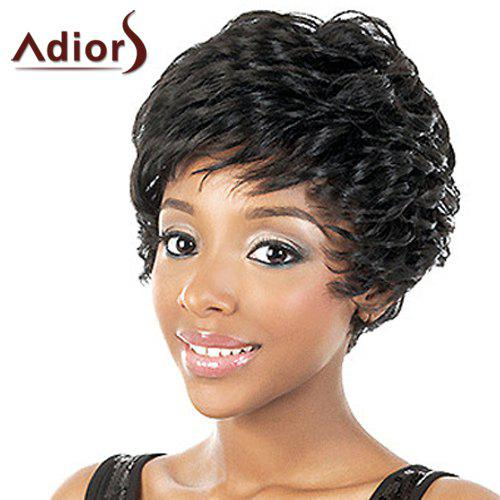 Vogue Black Side Bang Synthetic Adiors Fluffy Ultrashort Curly Capless Wig For Women - BLACK